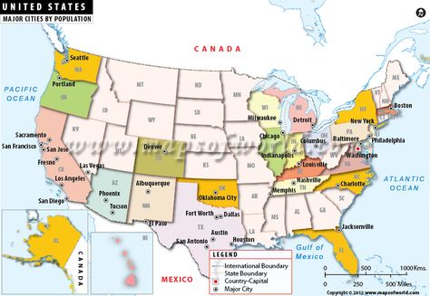 With The States Highlighted Quite Easy To Find Out The Most - Map of the united states with major cities