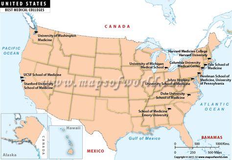 USA Best Medical Colleges Map | Medical college, Medical ...