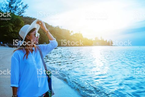 Asian Woman Travel Nature Travel Relax Walking On The Beach In The Summer  Stock Photo