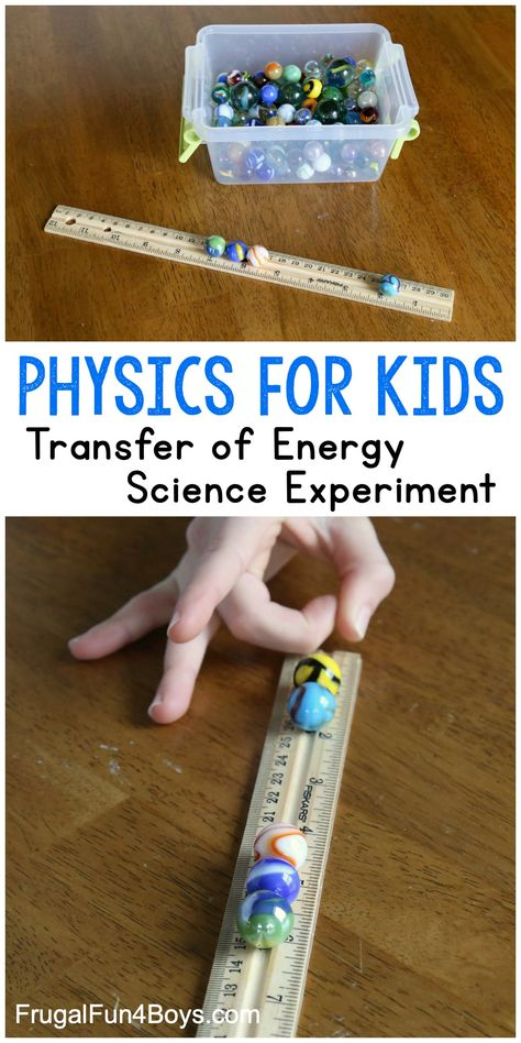 Transfer of Energy Science Experiment - Use a ruler and marbles to teach how energy is transferred from one object to another. Cool science activity with fun and surprising results! physical science Transfer of Energy Science Experiment Summer Science, Stem Science, Middle School Science, Science Classroom, Teaching Science, Science Education, Science For Kids, Kindergarten Science Experiments, Earth Science