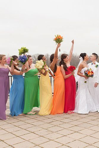Super Cute Gay and Lesbian Wedding Ideas ★ lesbian wedding ideas rainbow bridesmaids dresses Rainbow Bridesmaid Dresses, Rainbow Wedding Dress, Lavender Bridesmaid Dresses, Wedding Bridesmaids, Lesbian Wedding Photos, Cute Lesbian Couples, Lgbt Wedding, Wedding App, Wedding Attire