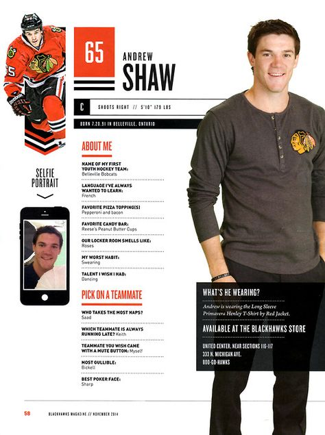 65 // ANDREW SHAW -  Blackhawks Magazine surveys 2014-15