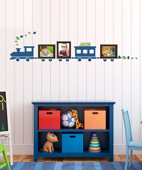 Adorable 'Choo Choo' Personalized Decal for a boy's room.