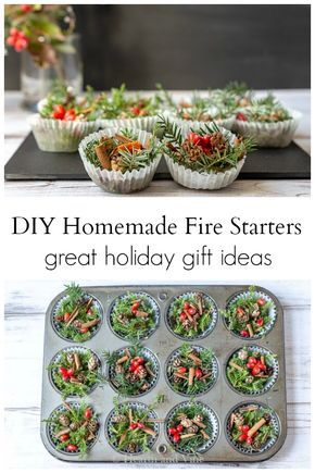 DIY fire starters make a beautiful holiday thank you gift for anyone who loves to build a fire. Natural, easy and inexpensive to make you can wipe up a batch and bag them up in no time. #ChristmasGifts #HandmadeHolidayGifts #FireStarters