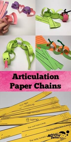 Quick, low prep craft for articulation. Lots of ideas so it can be used for year round fun. Includes single words and sentence level options. Speech Activities, Speech Language Therapy, Speech Therapy Activities, Speech And Language, Preschool Articulation Activities, Articulation Therapy, Play Therapy Techniques, Speech Language Pathology, Paper Chains