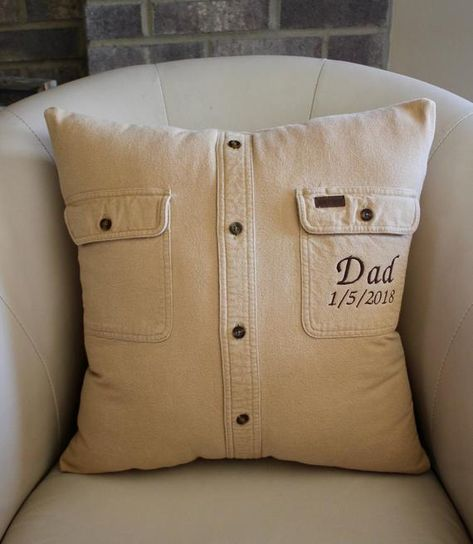 Dad Pillow- In loving Memory Pillow - made from loved ones shirt - Memorial - Ke. Dad Pillow- In loving Memory Pillow – made from loved ones shirt – Memorial – Keepsake Pillow Fabric Crafts, Sewing Crafts, Sewing Projects, Pillow Crafts, Diy Projects, Memory Pillows, Memory Pillow From Shirt, Memory Quilts, Memory Crafts