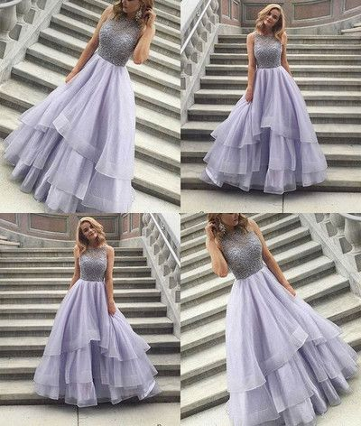 de072d7bb0746a Prom Dresses Beading Tiers Ball Gown Organza Prom Dresses 2017 Evening Dress  Sparkly Beading Long Party Gowns For Teens #RosyProm #promdress #promgown  ...