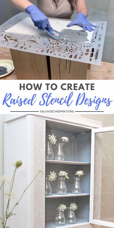 HOW TO CREATE RAISED STENCIL DESIGNS | GOODWILL CABINET MAKEOVER  #raisedstencil #paintedfurniture #diyfurniture #furnituremakeover #siblog #salvagedinspirations