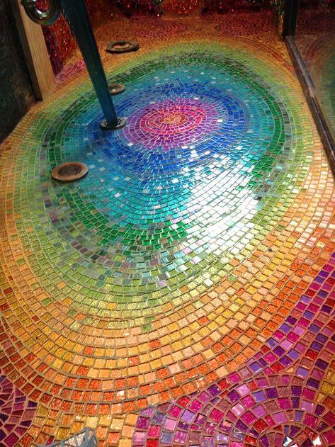 Fire and Water Bathroom — True Mosaics Studio - Fire & Water bathroom Mosaic Wall, Mosaic Glass, Mosaic Tiles, Stained Glass, Glass Art, Fused Glass, Mosaic Floors, Mosaic Artwork, Mosaic Bathroom