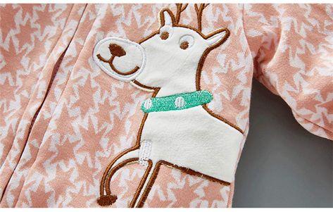 AIKSSOO Infant Baby Boy Girl Christmas Outfit Long Sleeve Deer Romper Pajamas