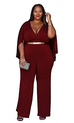 add599b00a341 Women's Plus Size Jumpsuit with Attached Flowing Cape in Burgundy ...