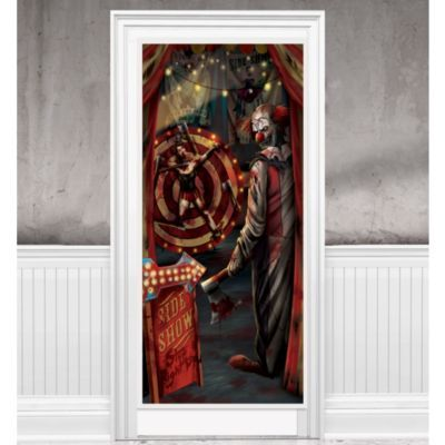 Evil Side Show Clown Door Cover 33 1 2in X 65in Creepy Carnival Party City Creepy Carnival Halloween Door Decorations Halloween Party Decor