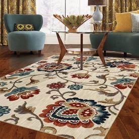 Mohawk Home Graceland 8 X 10 Cream Indoor Floral Botanical Area Rug Lowes Com Mohawk Home Family Room Makeover Area Rugs
