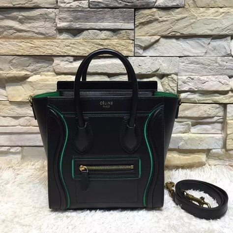 Celine Nano Micro Luggage Handbag With Interstice In Smooth Calfskin Black 2017