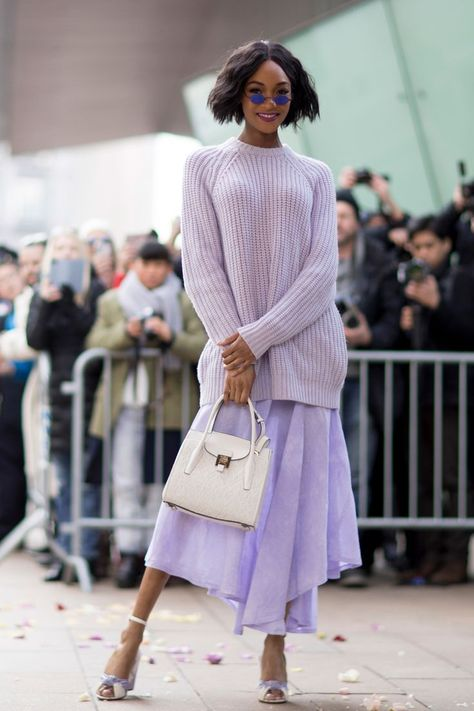 fashion womens Jourdan Dunn in Lilac - Creative Winter Outfit Ideas From New York Fashion Week Street Style - Photos fashion womens