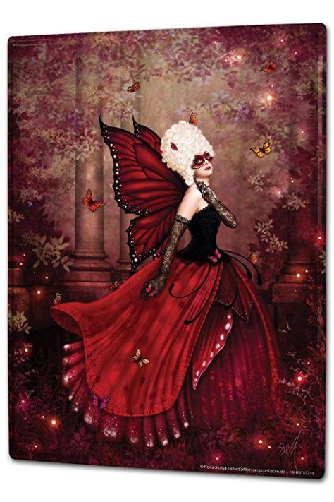blechschild xxl fantasie bild motiv elfe rote flügel maske