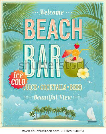 Vintage Beach Bar Poster Vector Background