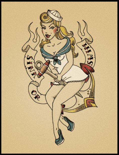 24+ ideas for tattoo girl design illustration pin up