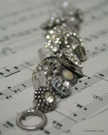 Must do this!  vintage buttons into bracelet, so pretty.