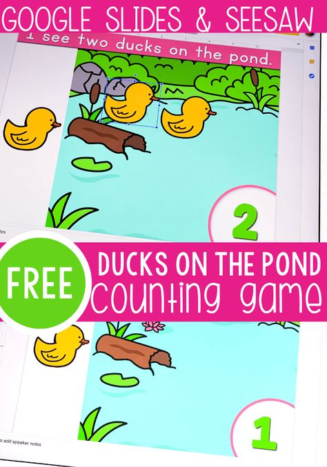 Free duck counting activity for preschool. Practice counting to 10 with this fun free digital activity for Google Slides and Seesaw. Perfect for preschool math centers, homeschooling and distance learning. #digitalactivity #lifeovercs #countingactivity #countto10 #countingto10 #pre-k #mathcenters #googleslides #seesaw
