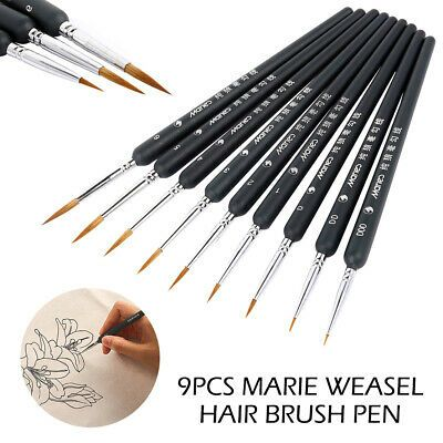 9Pcs Weasel Hair Brush Pen Oil Painting For Watercolor Paint Gouache Art Tool