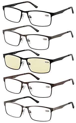 ab52a2a19b59 Eyecedar 5-Pack Reading Glasses Men Metal Frame Rectangle Style Stainless  Steel Material Spring Hinges