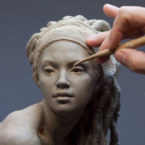 """""""Walking in Beauty"""", work in progress (2018), clay 46 cms. @coderch.malavia.sculptors"""
