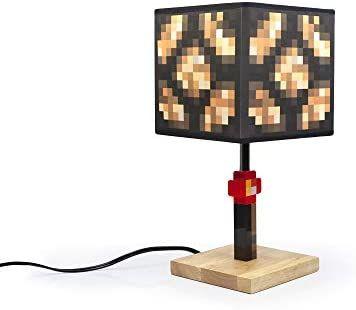 Amazon Com Minecraft Glowstone 14 Inch Corded Desk Led Night Light Decorative Fun Safe Awesome Bedside Mood