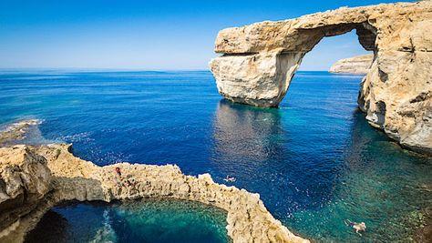 Modré okno na ostrově Gozo