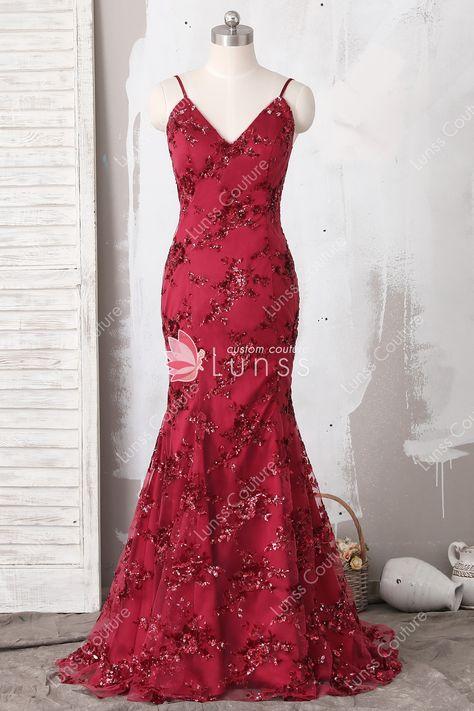 fc571e43791c shiny wine sequin lace spaghetti strap v neck mermaid long prom dress with  crisscross back
