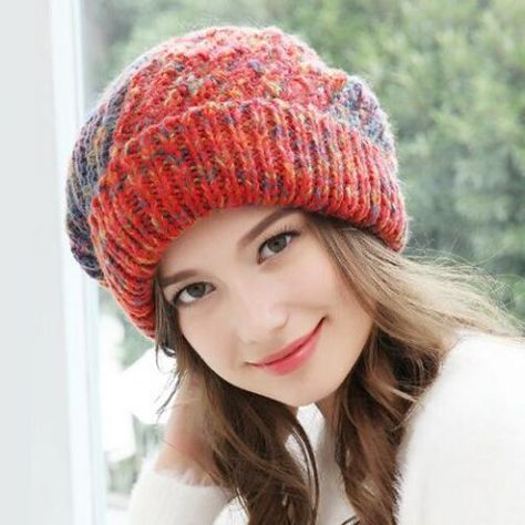 0f25c133b7b Ladies color block knitted bobble hat with fur pom pom winter hats fleece  lined