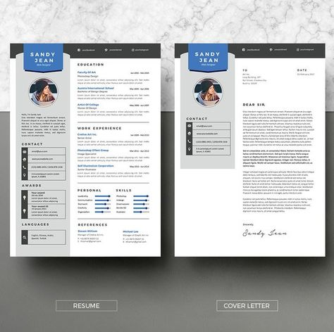 2 Pages Resume Template.Modern Resume Template Instant Download 2 Pages Cv Template