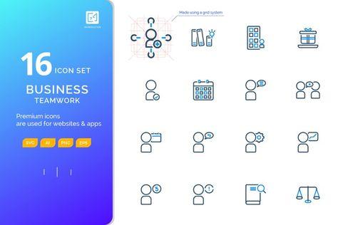 Icon set BUSINESS TEAMWORK outline color style (127881)   Icons   Design Bundles