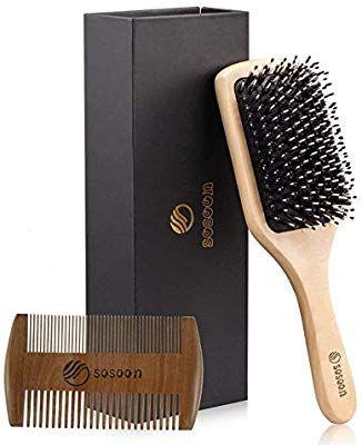 Hair Brush, Sosoon Boar Bristle Paddle Hairbrush for Long
