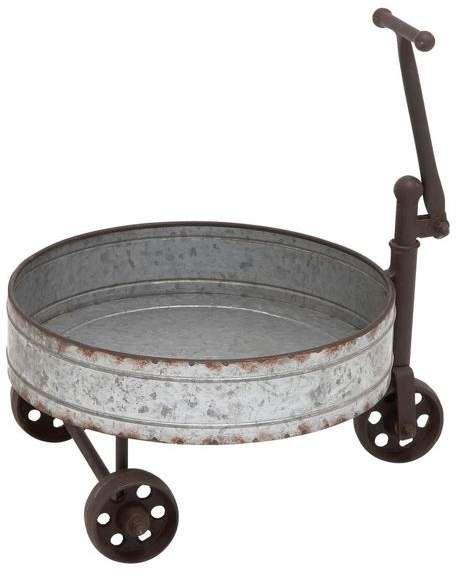 Brimfield May Metal Barrel Cart Cosas De Casa Asador Redondo Barriles