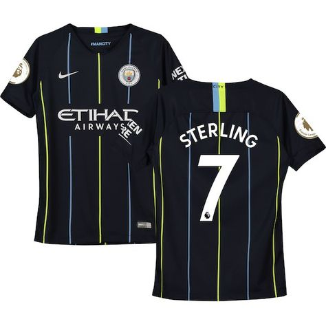 88a0f33ae9aec2 Raheem Sterling Manchester City Nike Youth 2018 19 Away Replica Stadium  Player Jersey Navy  ManchesterCity