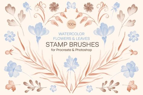Watercolor Flowers & Leaves Stamp Brushes for Procreate (1346192) | Procreate | Design Bundles