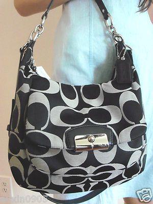 aeb62df4433f ... promo code nwt coach black gray signature shoulder crossbody med hobo  style tote bag purse hobo