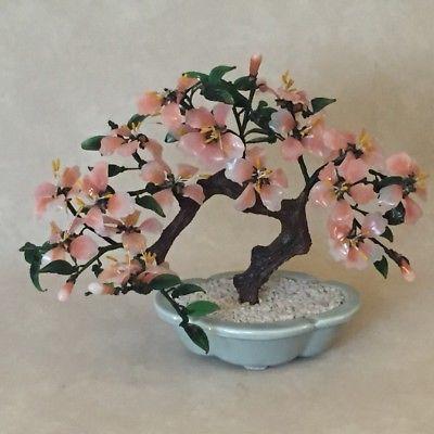 Vintage Jade Bonsai Stone Glass Pink Cherry Blossom Flower Tree In Celadon Pot Flowering Trees Cherry Blossom Flowers Jade Bonsai