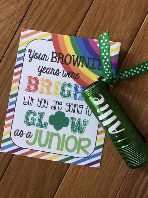 A Personalized Flashlight is the perfect gift for your bridging Girl Scout! Girl Scout Leader, Girl Scout Troop, Brownie Girl Scouts, Girl Scout Cookies, Girl Scout Shirts, Girl Scout Badges, Scout Mom, Daisy Girl Scouts, Girl Scout Daisy Petals