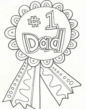 """A coloring page that says """"#1 Dad"""" on a ribbon button"""