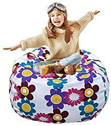 Teal Lillys Love Chevron Storage Bean Bag Chair