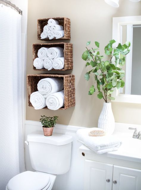 49 Clever Small Bathroom Decorating Ideas Bathroom Storage Ideas are always hard. 49 Clever Small Bathroom Decorating Ideas Bathroom Storage Ideas are always hard to come by because you never really know what to expect. Bathroom Towel Storage, Diy Bathroom Decor, Bathroom Interior Design, Bathroom Designs, Simple Bathroom, Bathroom Furniture, Furniture Vanity, Boho Bathroom, Bathroom Mirrors