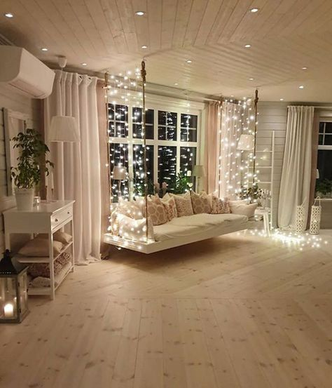 Great Country Home Design Ideas How COZY and cute does this home look? 😍🙌 We wish we had such a cute swing inside our home! We would sit there all day! 🙋😁 TAG a friend who will love this! 👇Read More Country Home Ideas Cozy Room Decor, Room Inspiration Bedroom, House Rooms, Bedroom Design, House Design, Aesthetic Room Decor, Home Decor, House Interior, Room Design