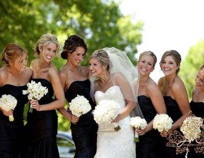Black White Wedding Party I Wonder What Kind Of Flowers These