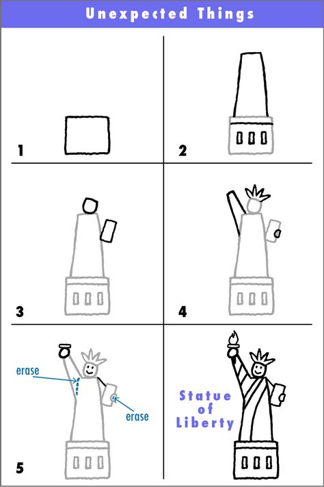 """Here's a quick simple way to draw the Statue of Liberty. The goal? If someone looks at your and says, """"Hey.the Statue of Liberty!"""", then you have succeeded. Often we tell ourself that. Kindergarten Social Studies, Teaching Social Studies, Kindergarten Art, Teaching Art, Teaching Drawing, Cc Drawing, Drawing For Kids, Drawing Guide, Statue Of Liberty Drawing"""