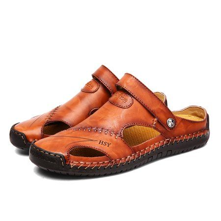 Mens Summer Leather Sandals Closed Toe Beach Shoes Fisherman Casual Slippers New