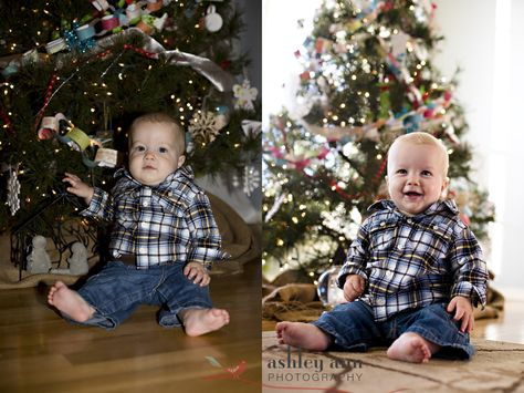 How to take better pics in front of your Christmas tree.-- Use the Av mode (set it to the smallest number) and turn off your flash