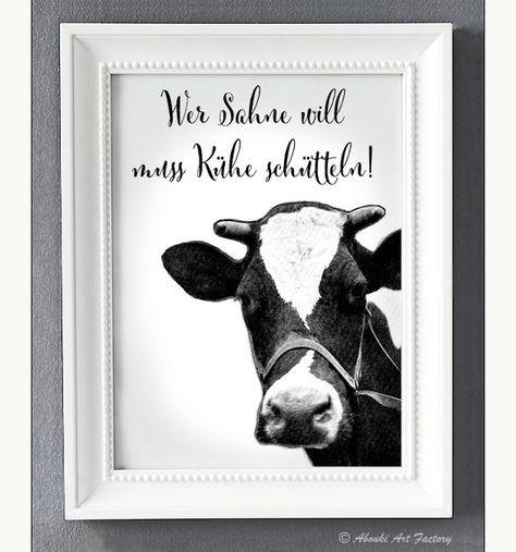 Typo/Druck Wer Sahne will, muss Kühe schütteln // print/poster you want cream? you gotta shake cows! via DaWanda.com