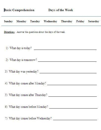 Spanish Phonics Worksheets Kindergarten Worksheets Printable Days Of The Week Activities Following Directions